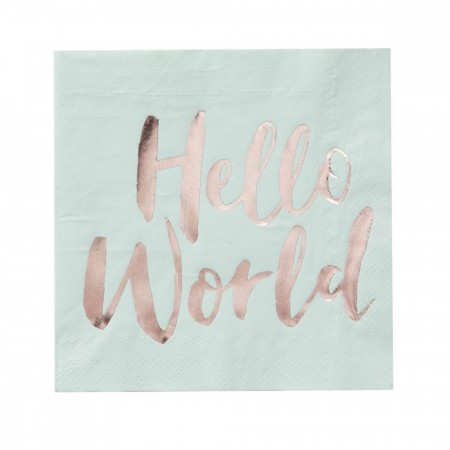 Hello World Servietter I Mint Og Rosegull (20pk)