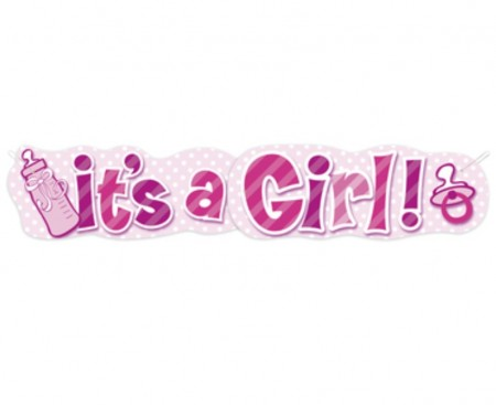 Stor It´s A Girl Tåteflaske Banner