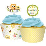 Ugle Cup Cake Wraps Med Pynt