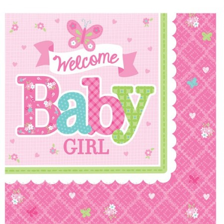 Welcome Baby Girl Servietter