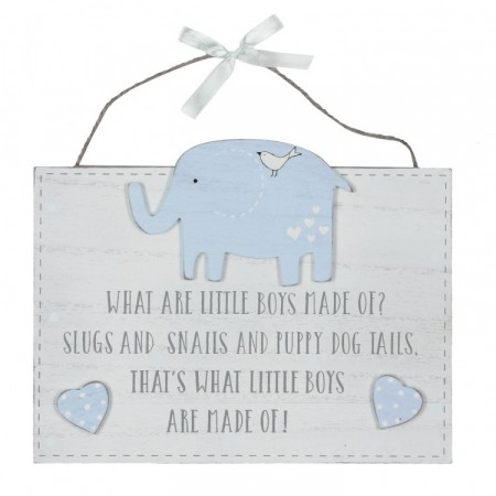 """What Little Boys Are Made Of"" Elefant Skilt"