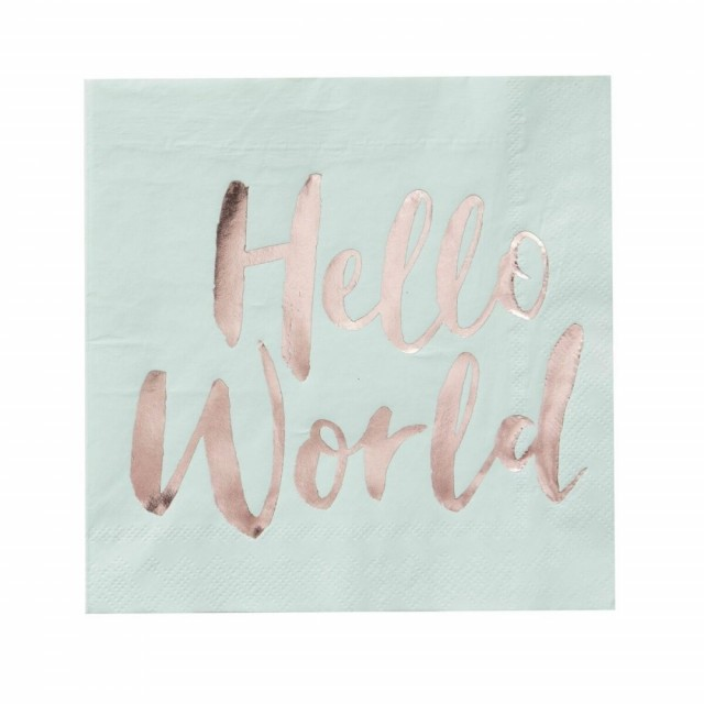 Hello World Servietter I Mint Og Rosegull (20pk) - Baby Shower