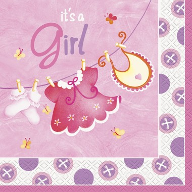 It´s A Girl Servietter- Baby Shower Nettbutikk