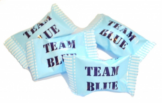 Team Blue mint sukkertøy til baby shower