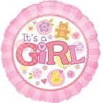 Rosa it´s a girl bamse ballong - Baby shower